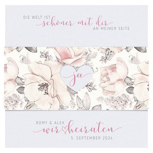 Hochzeitskarte Aquarell Blumen – Belarto