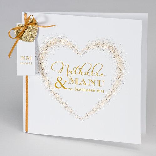 Hochzeitskarte mit goldenem Glitzerherz – Büromac