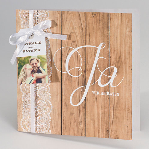 Hochzeitskarte im Holzlook mit Spitzenbordüre – Büromac