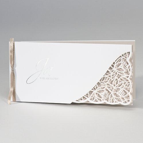 Hochzeitskarte mit Spitze Stanzung & cremefarbenem Einleger – Büromac