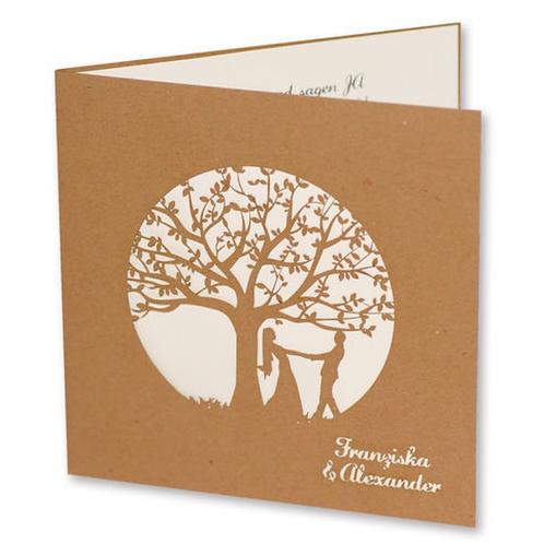 Einladungskarten mit gelasertem Baum – Fenzl
