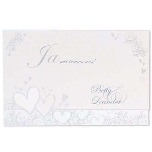 schlichte Hochzeitseinladung mit Herzen – Fenzl