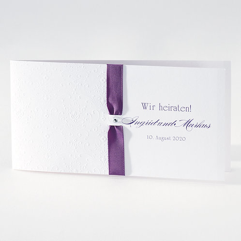 Weiße Hochzeitskarte mit Prägung und violettfarbenem Bändche– Büromac