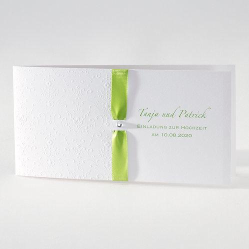 Weiße Hochzeitskarte mit Prägung und grünem Bändchen– Büromac