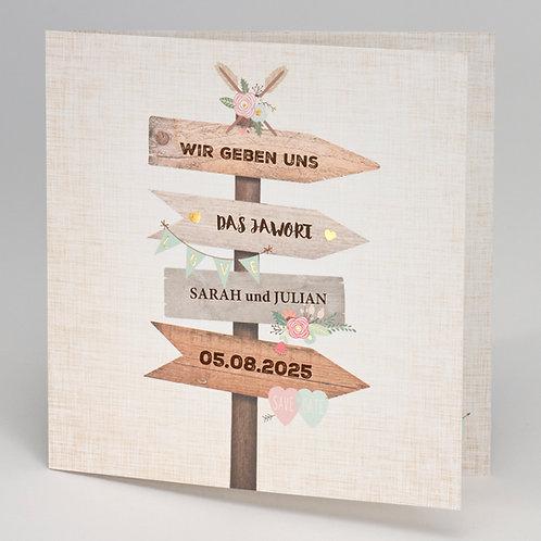Hochzeitskarte mit Wegweiser – Büromac