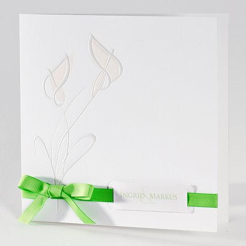Hochzeitskarte mit perlmuttfarbenen Kallas und grünem Bändchen – Büromac
