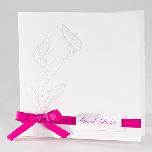 Hochzeitskarte mit perlmuttfarbenen Kallas und fuchsia Bändchen – Büromac