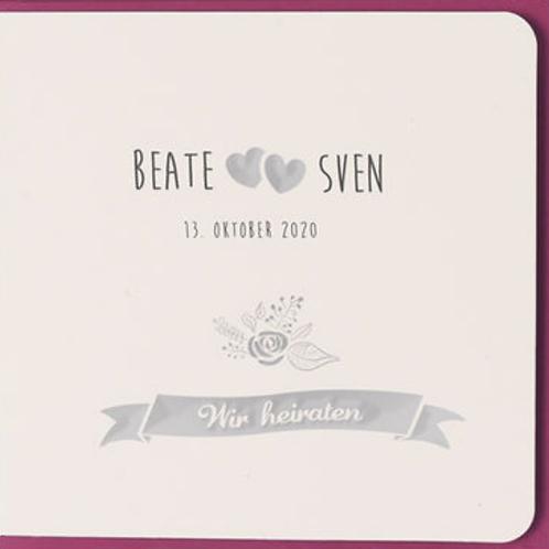 Einladungskarte mit farbigem Einlegeblatt– Fenzl