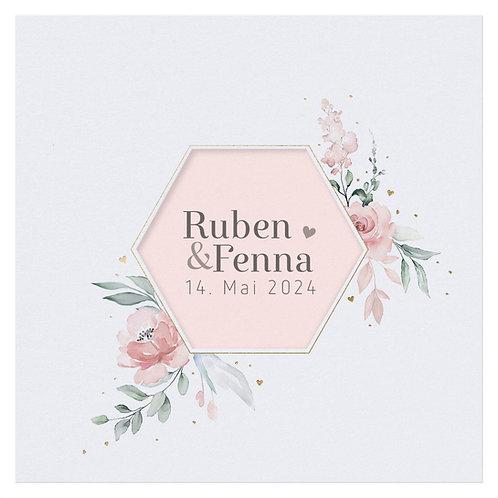 Hochzeitskarte Aquarell mit Blumen – Belarto