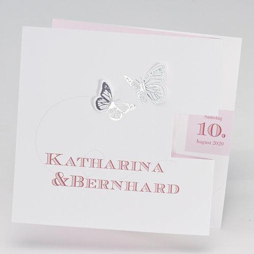 Hochzeitskarte mit silbernen Schmetterlingen und rosa Akzenten – Büromac