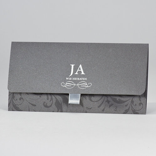 Edle anthrazitfarbige Außenkarte mit Silberfolienprägung veredelt – Büromac