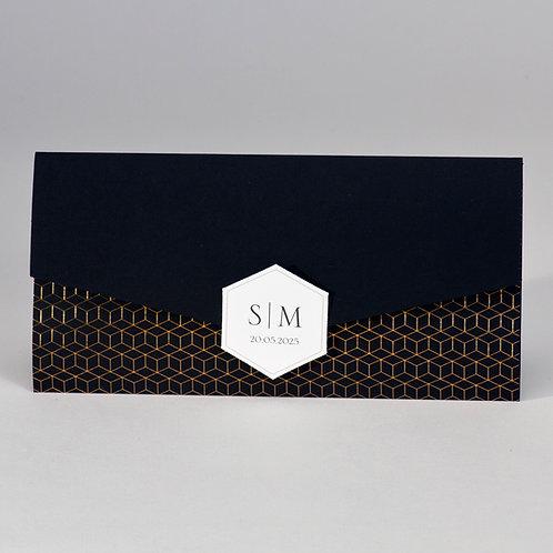 Schwarze Hochzeitskarte im Taschenlook mit geometrischem Design – Büromac