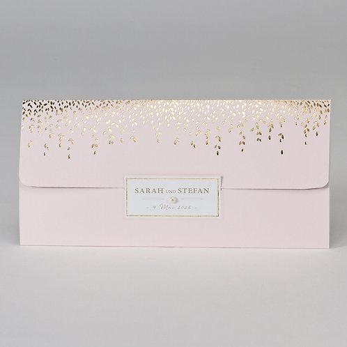 Rosafarbene Tasche mit Perle & Blättern in Goldfolie – Büromac