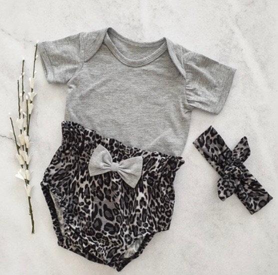 Leopard Print High Waist Diaper Cover Combo