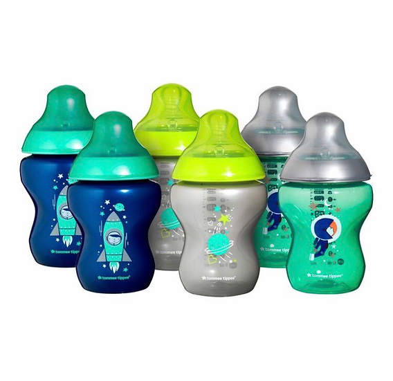 Tommee Tippee 260ml Decorated Bottle 6 Pack - Boy