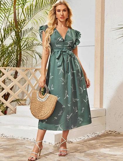 Ruffle Belted Plant Dress