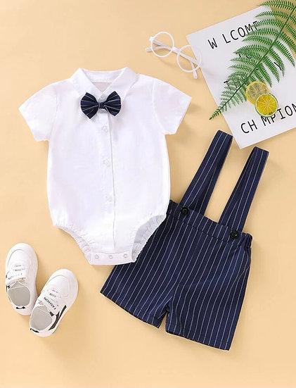 Baby Bow Tie, Shirt & Suspenders Short Set