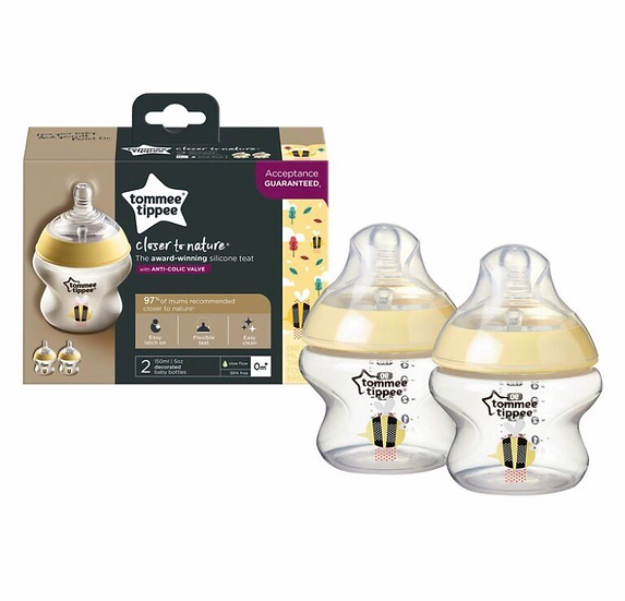 Tommee Tippee 150ml Bottle Yellow - 2 Pack