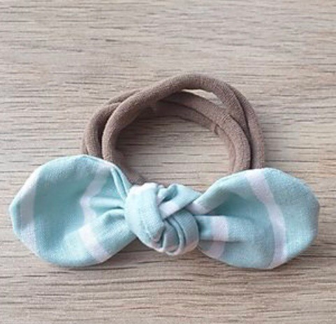 Turquoise Striped Knotted Headband
