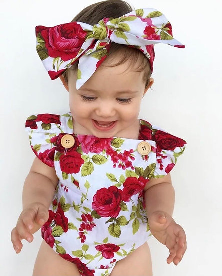 Red Rose Baby Jumpsuit and Headband
