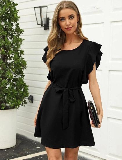 Butterfly Sleeve Black Dress