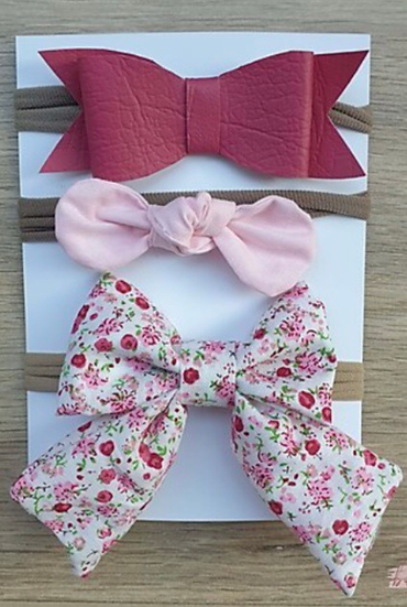 Fine Pink Floral Headband Combo
