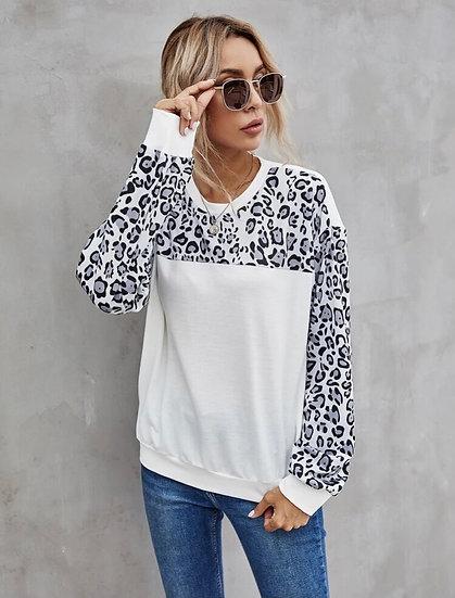 White Leopard Print Sweatshirt