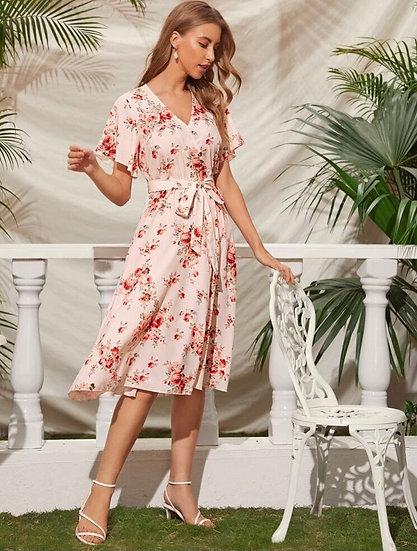 Pink Floral Self Belted Dress