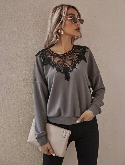 Grey Lace Top
