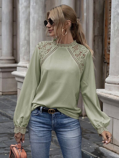 Mint Green Lace Panel Blouse