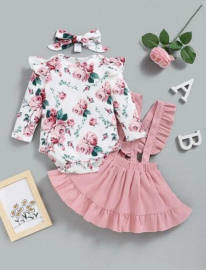 Floral Bodysuit, Skirt & Headband