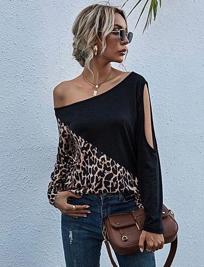 Black Asymmetrical Leopard Tee