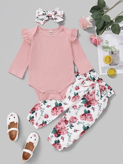 Pink and White Floral Pants and Headband Set