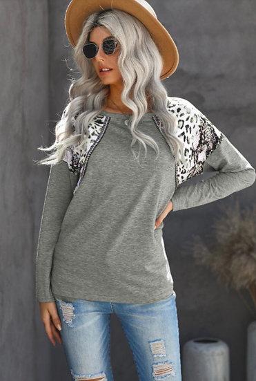 Grey Snakeskin Long Sleeve Top