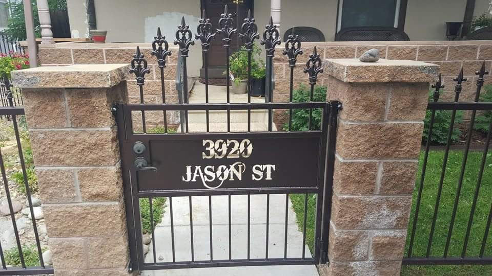 Custom metal gate with CNC plasma cut lettering
