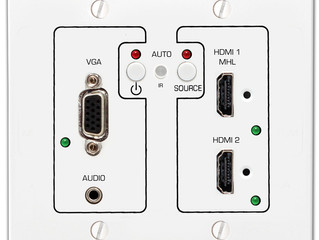 VGA, HDMI, MHL Auto-Switching Wall-Plate with HDBaseT™ from Hall Research