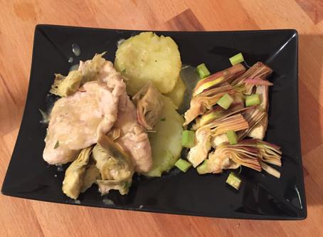 Pollo, patate e carciofi crudi e cotti