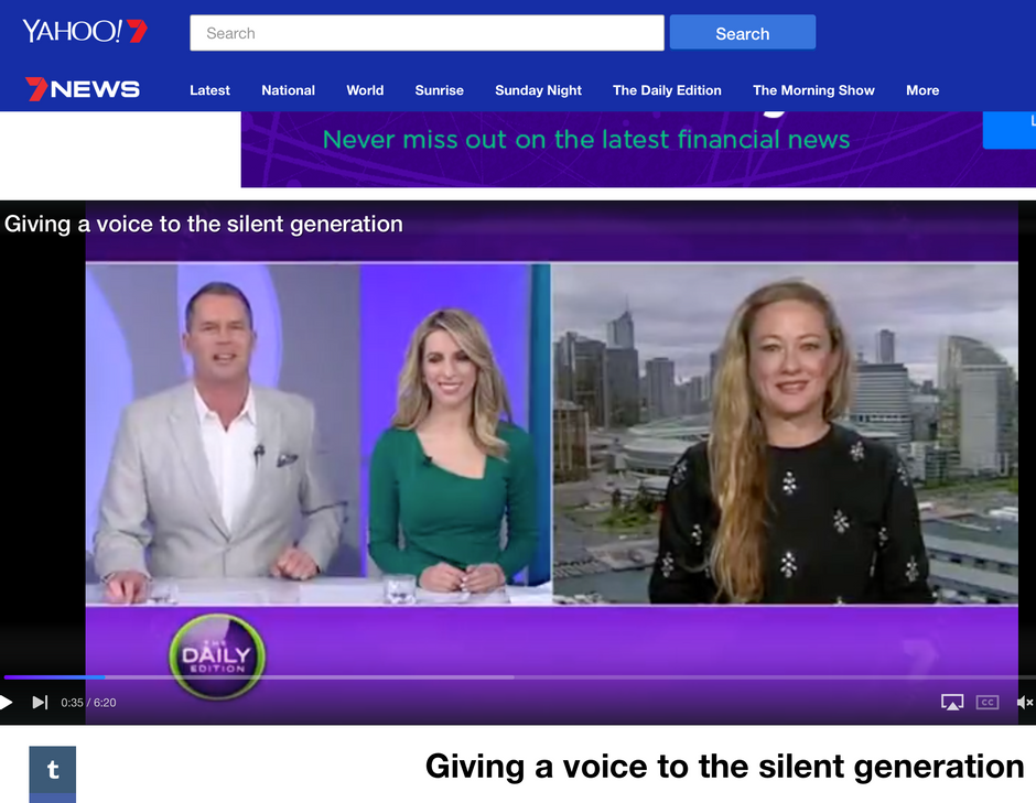 THE SILENT GENERATION featured on The Daily Edition on Seven.