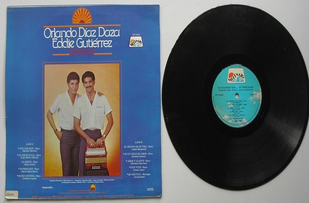 Disco de larga duración grabado por Orlando Díaz Daza con el cantante Eddy Gutiérrez titulado 'El vallenato que no tiene igual'.