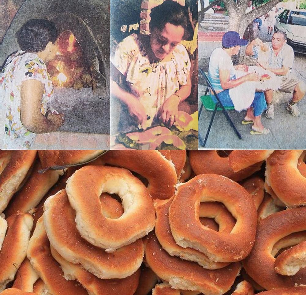 Imágenes de Martha Zequeira en la preparación y venta de sus almojábanas. Archivo.