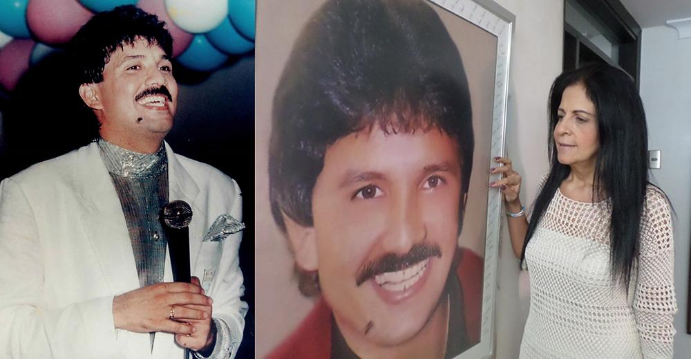 Imágenes de Rafael Orozco, sonriente, cantando y de Clara Elena Cabello, su esposa, mirando su retrato. Foto Cortesía.