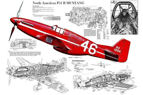 Quadro P-51 Mustang 40x60cm