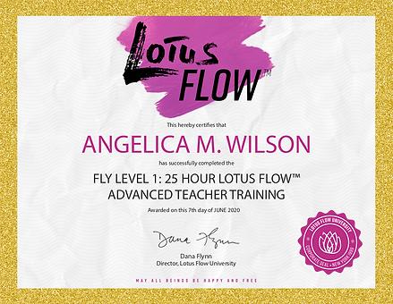 Angelica Wilson Fly Certificate
