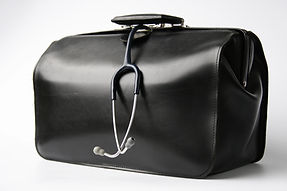 big black doctor's bag with stethoscope