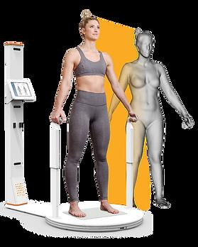 Girl on 3D Body Scanner at siscoe gym