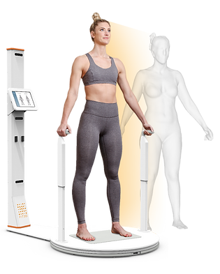 Girl on 3D Body Scanner at siscoe gym
