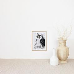 Cute Lazy Cat Watercolour Portrait