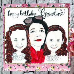 Happy Birthday Grandma Portrait Card
