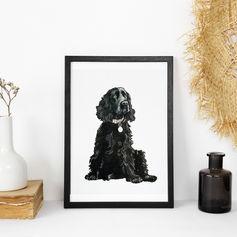 Black Dog Watercolour Portrait