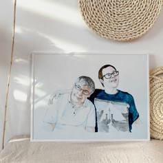 Father and Son Watercolour Portrait